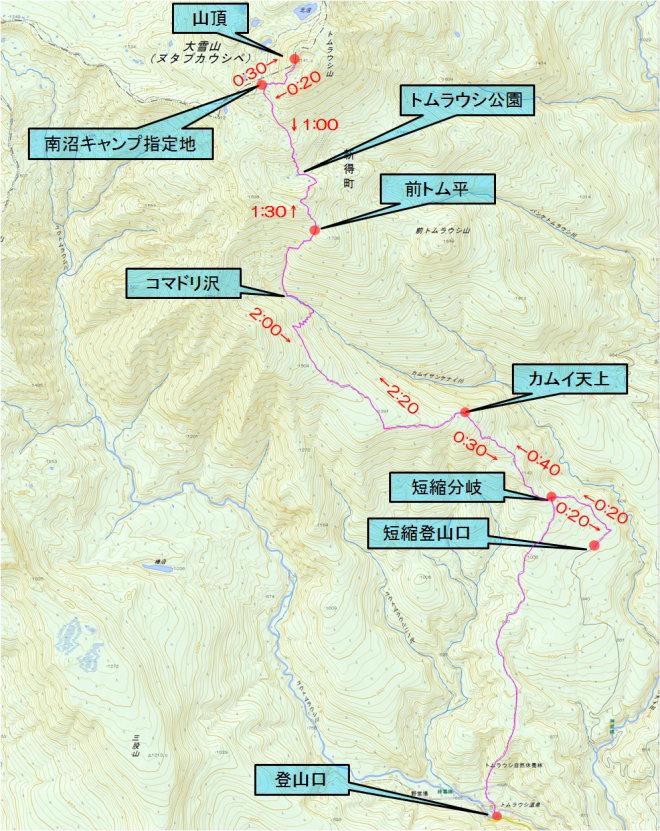 トムラウシ山 タイムマップ