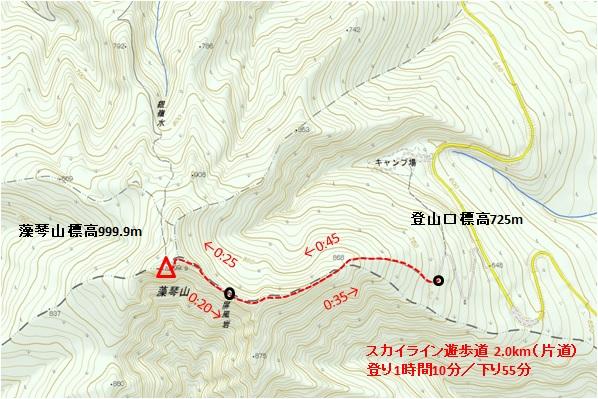 藻琴山スカイライン遊歩道 地形図