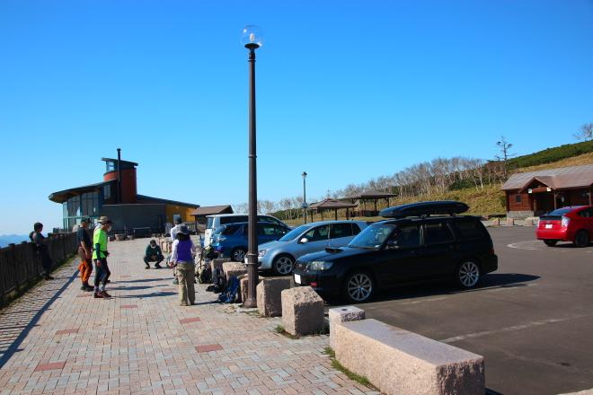 藻琴山登山口の駐車場