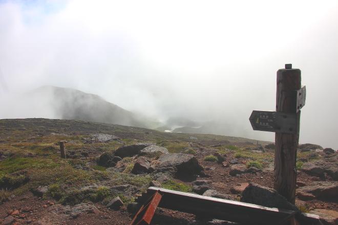 北鎮岳山頂の標識