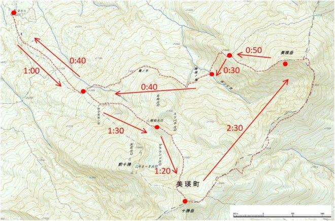 十勝 美瑛岳 時間地図
